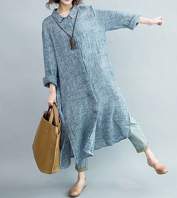 Ladies Women Dress Plus Size Long Sleeve Blouse Casual Loose Tops Maxi Blouse