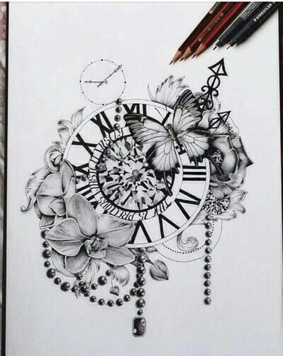 Art Black And White Clock Creative Cute Drawing Flowers Time