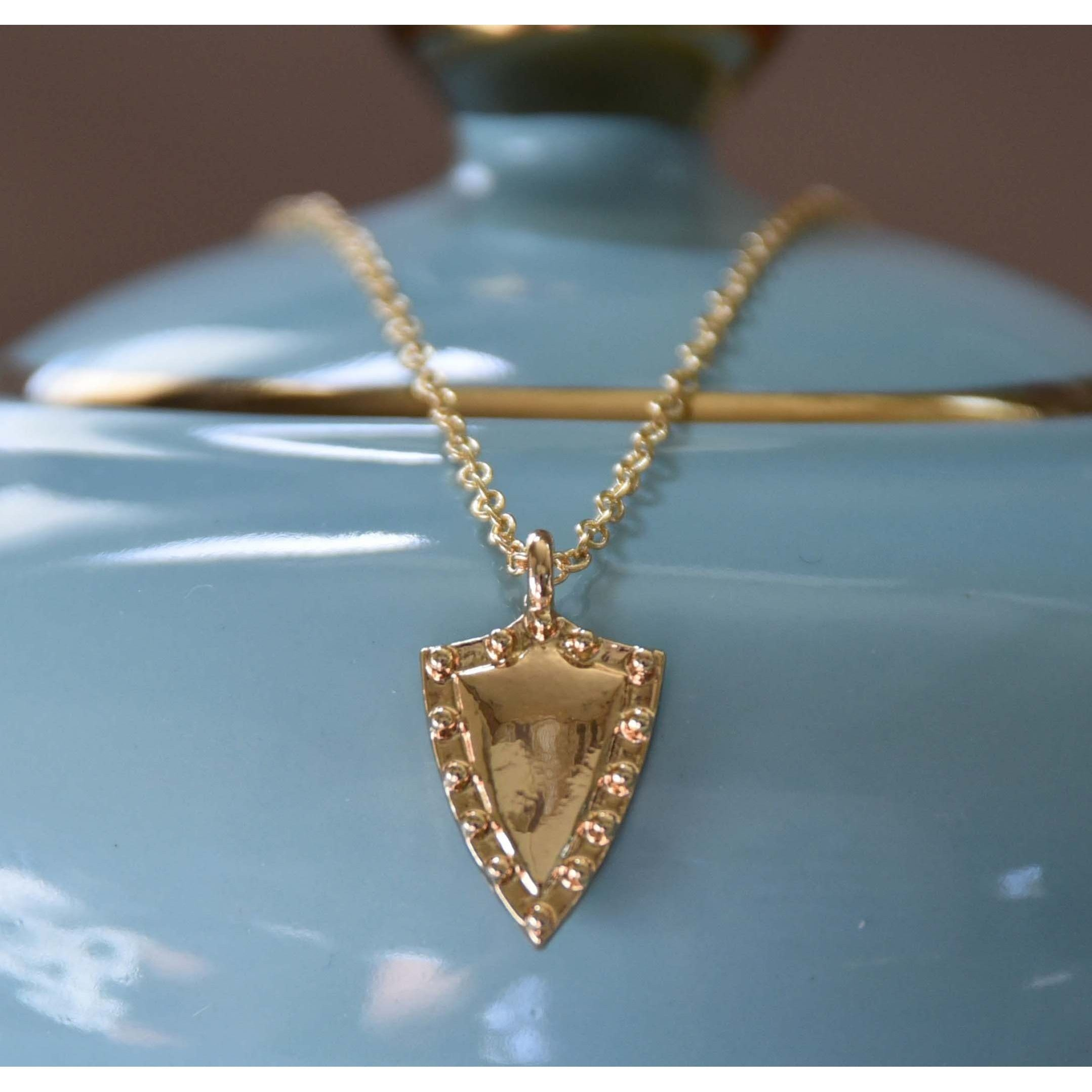 """Mint Jules Dainty 18k Gold Overlay Shield Layering Necklace 18"""""""