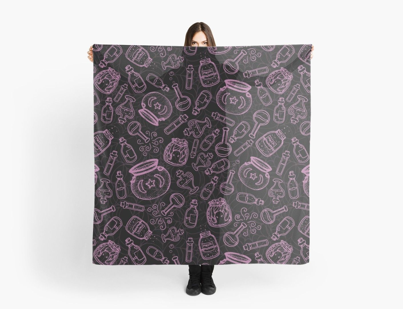 Pink Witchy Stuff Scarf by WitchyShop drawings potions Pink Witchy Stuff Scarf by WitchyShop