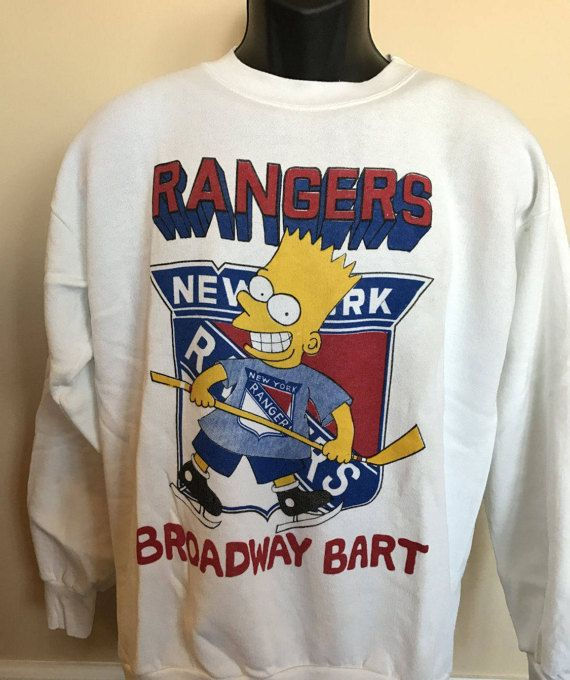 90s Bart Simpson Rangers Shirt Vintage NHL New York NY Ice Hockey Jersey  Broadway Sweatshirt Sport Fox Homer Simpsons Rare Retro Made in USA dc89c164c55