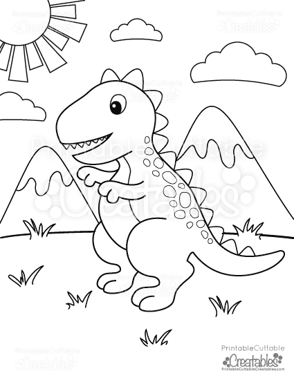 Free Printable T Rex Dinosaur Coloring Page Printable Cuttable Creatables Dinosaur Coloring Pages Free Coloring Pages Unicorn Coloring Pages