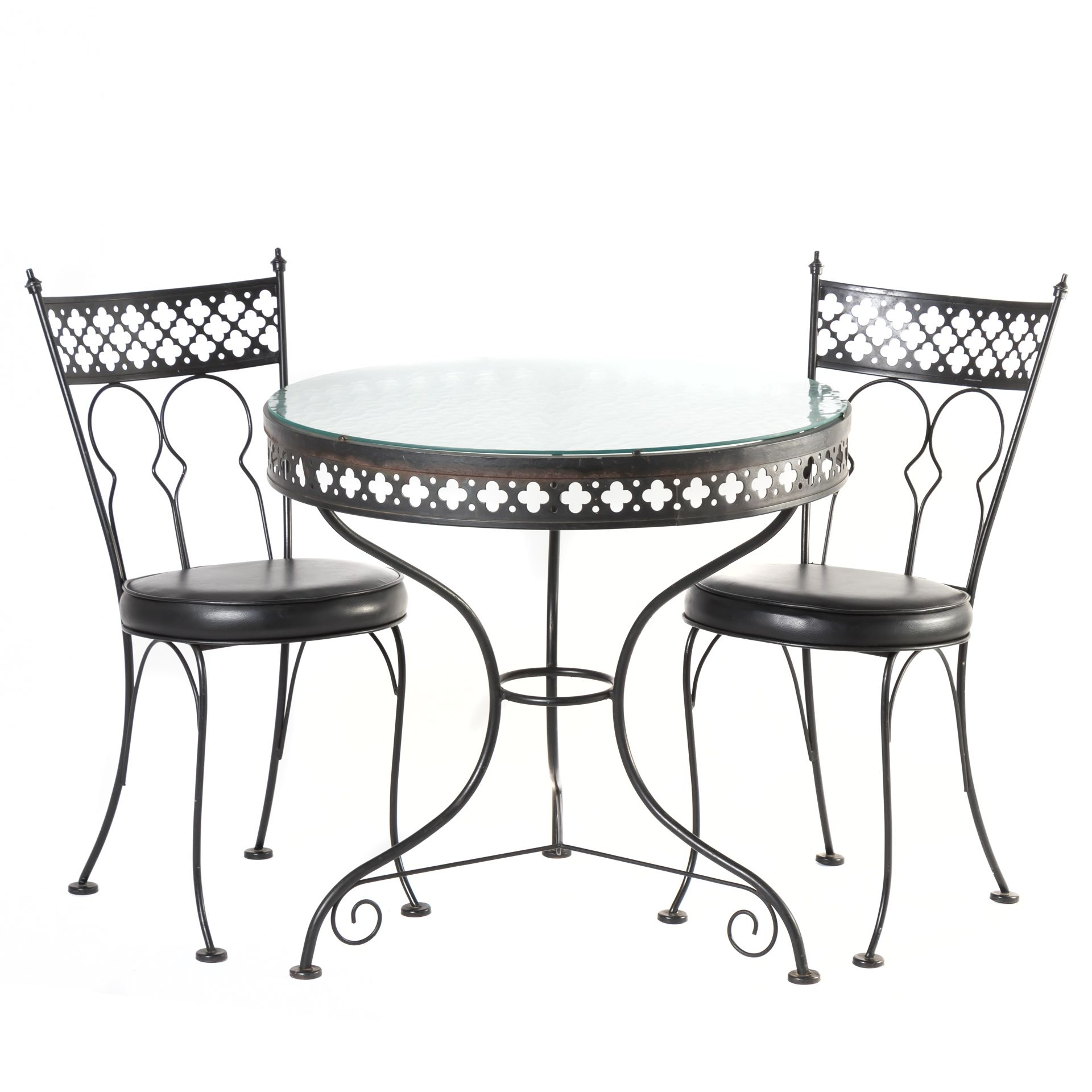 Charming Wrought Iron Bistro Table With Two Chairs Stylized