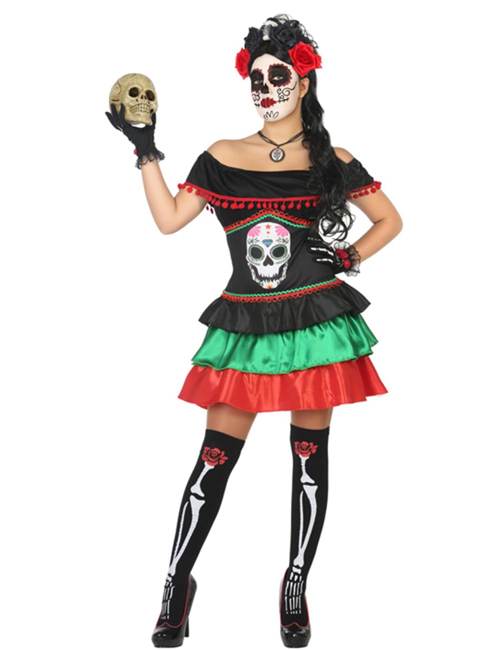 Femmes Adultes Jour des Morts Squelette OS Costume Déguisement Halloween Collant