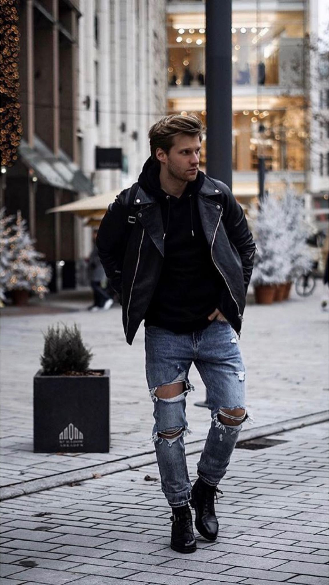 23 Outfits You Should Copy From This Influencer Blue Ripped Jeans Outfit Blue Jacket Outfits Men Leather Jacket Outfit Men [ 2048 x 1152 Pixel ]