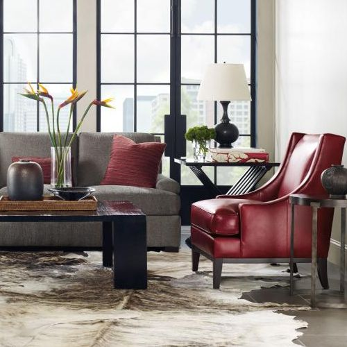 Bernhardt. Lancaster Chair, In Red Leather. Powell Cocktail U0026 End Tables,  Crushed