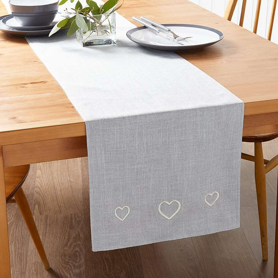 Country Heart Dove Grey Table Runner Grey Table Dining Table Runners Modern Table Runners