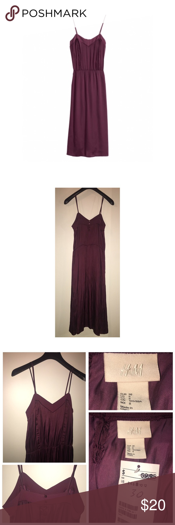NWT H&M Satin Dress NWT H&M Dress • Size 8 • Calf-length satin dress with narrow shoulder straps. Pin-tucks at front, elasticized seam at waist, and buttons at back. Unlined. DETAILS 100% polyester. H&M Dresses