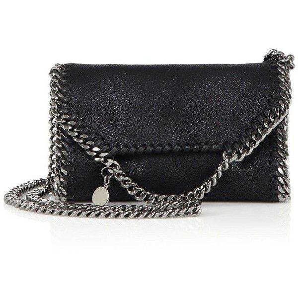 Stella McCartney Tiny FalabellaFaux Leather Fold-Over Chain Crossbody... (11.520 ARS) ❤ liked on Polyvore featuring bags, handbags, shoulder bags, stella mccartney, apparel & accessories, black, leather purses, genuine leather shoulder bag, leather shoulder handbags and leather cross body purse
