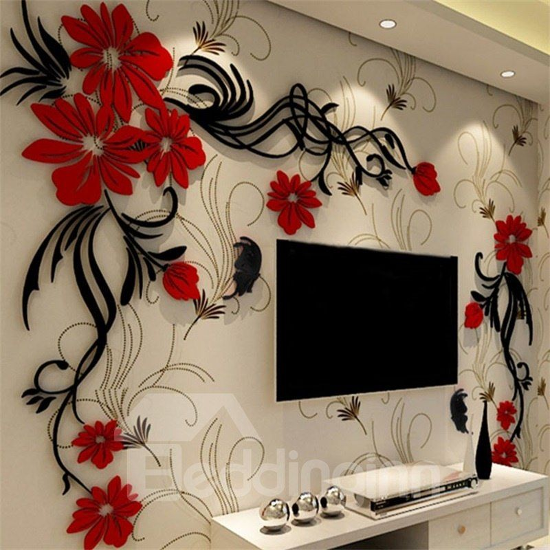 Elegant Flower Vine Pattern Acrylic Material Living Room 3d Wall Sticker Wall Stickers Home Decor Wall Stickers Living Room Wall Stickers Home