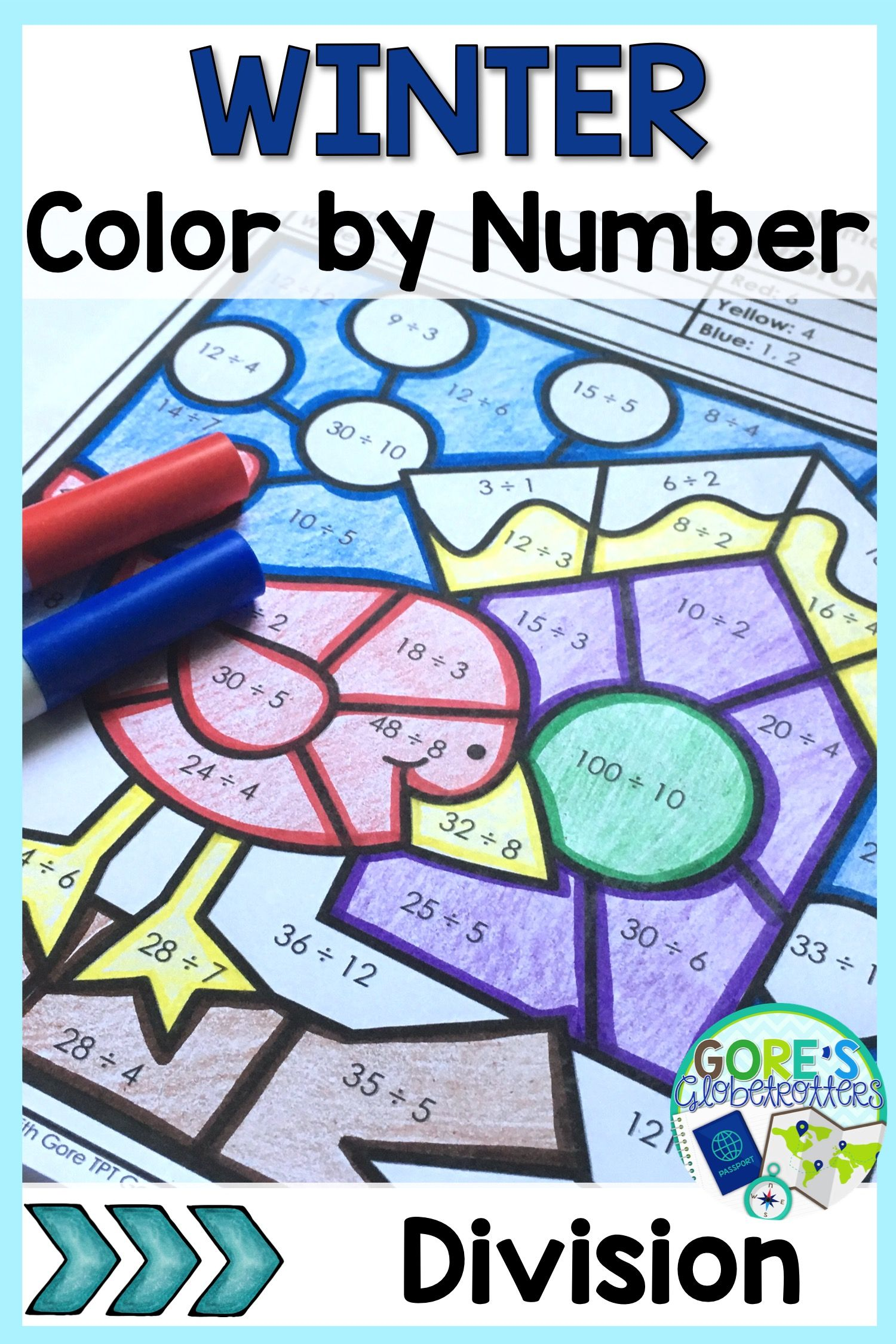 Winter Math Worksheets Color By Number Variety Of Skills