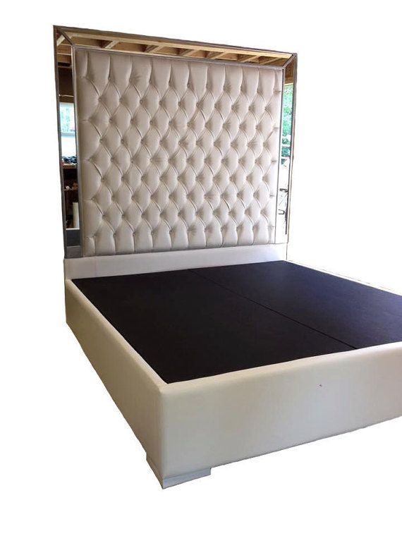 White Faux Leather King Size Platform Bed Queen Tufted Upholstered With