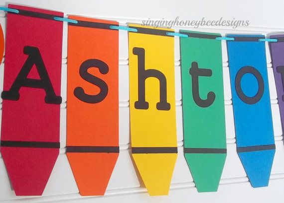 Color Crayon banner Crayon birthday party art birthday ...