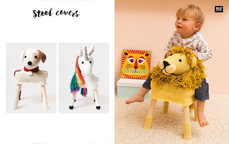 Hocker In Süße Tiere Verwandeln Stool Cover Rico Design Häkeln