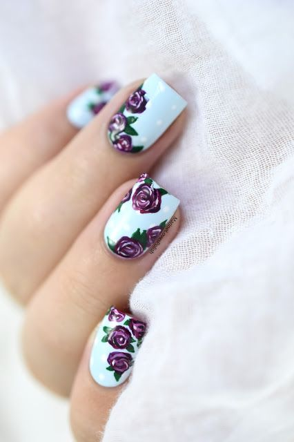 Easy Vintage Roses Nail Art Maniswap With Paulinas Passions