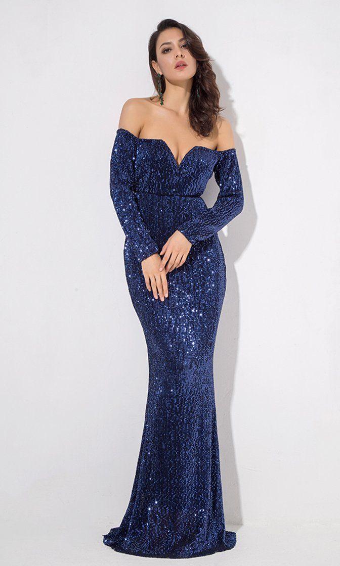 1d4ff2a74 Midnight Memories Navy Blue Sequin Long Sleeve Off The Shoulder V Neck  Sheath Maxi Dress