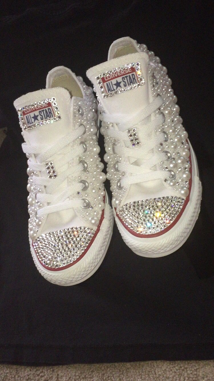 7bcf43336a08 Adult bling out chucks i made !!! Cute and great for weddings or just  because 😊