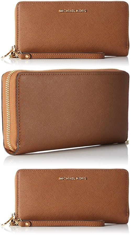 8449f3bc5d5a Michael Kors Women's Jet Set Travel Leather Continental Wristlet, Luggage,  ...