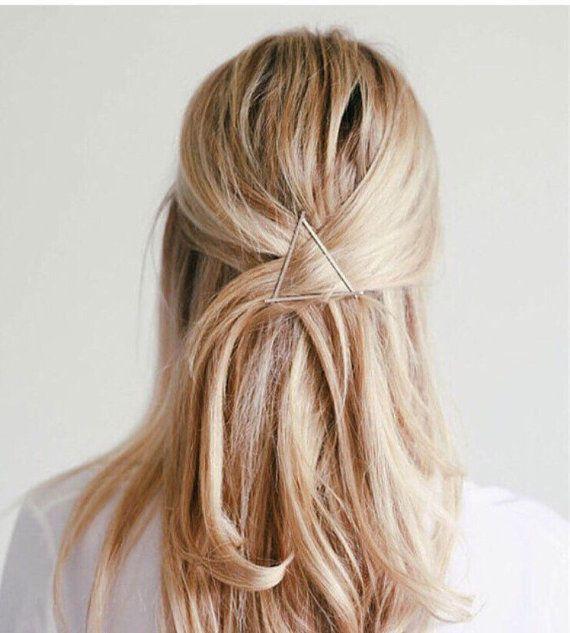 Geometric Hair Clip Triangle Hair Clip Geometric By Leftbanksv Frisur Ideen Stilvolle Frisuren Lange Haare