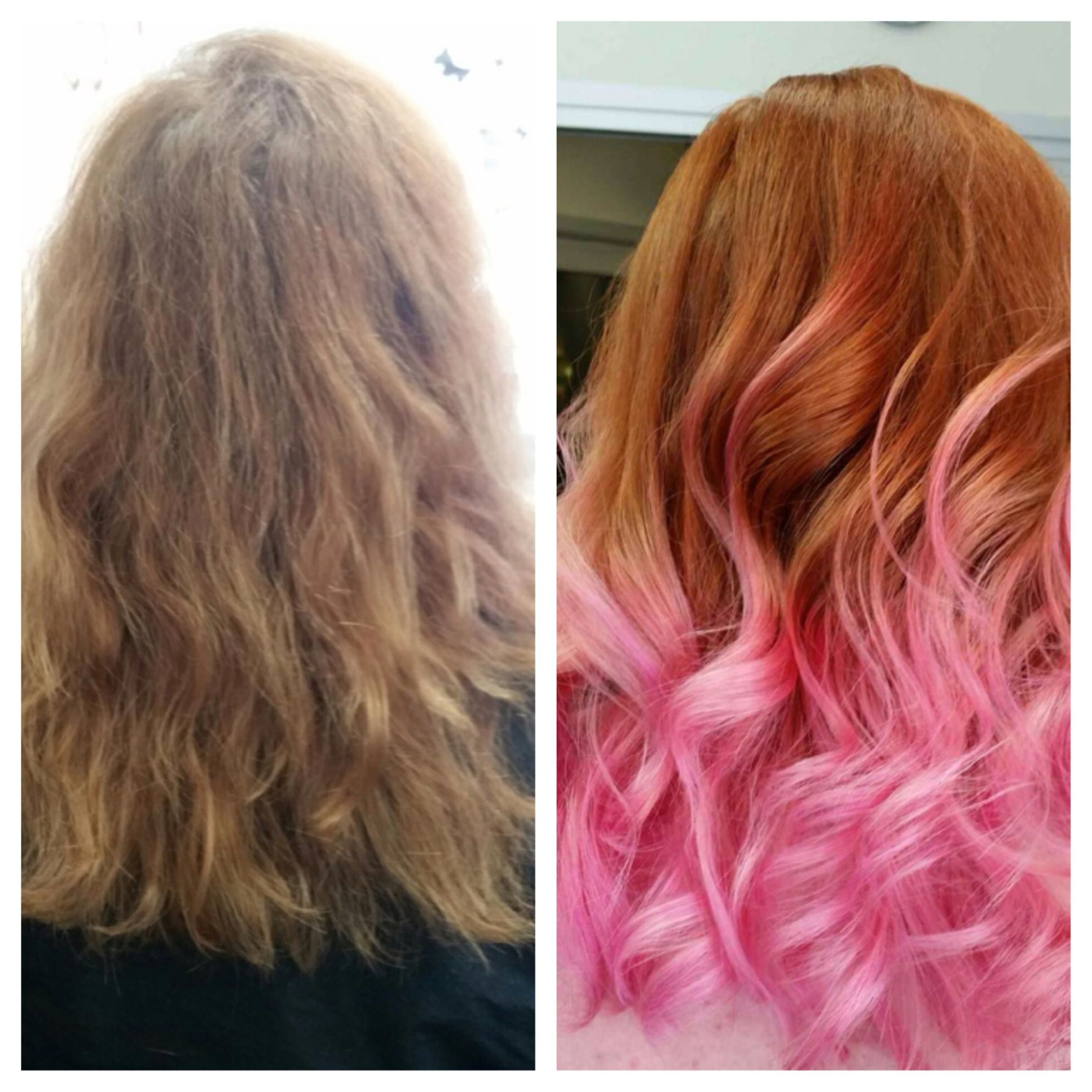 Copper Hair With Pink Ombre Natural Red Hair Blue Tips Hair Ginger Hair Color