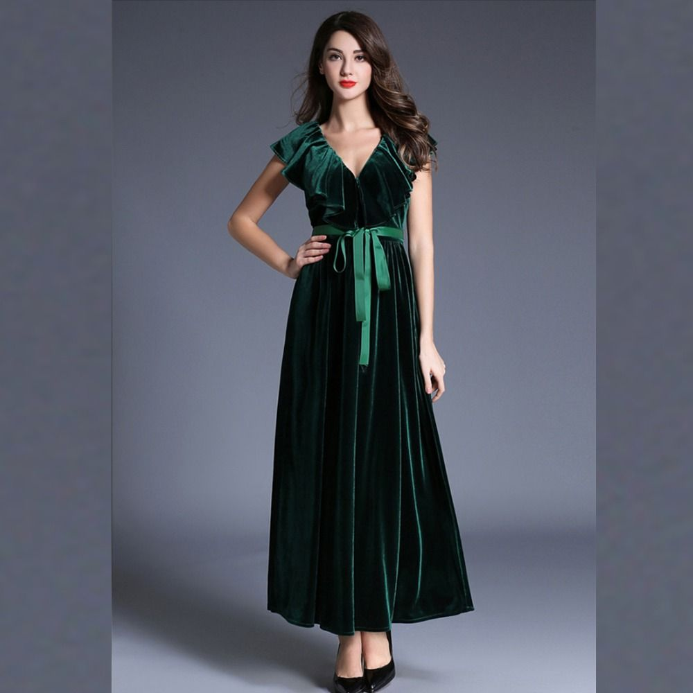 spring summer women velvet dress short sleeved elegant vintage