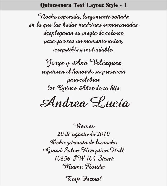 Quinceanera Invitation Quinceanera Invitation Wording