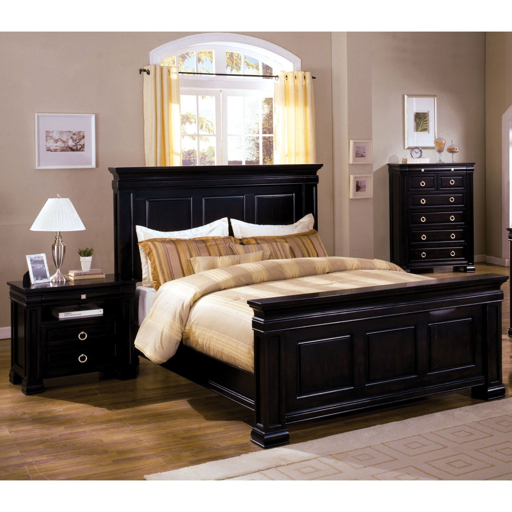 Furniture of america claresse traditional 2 piece espresso panel bedroom set cal king black size california king