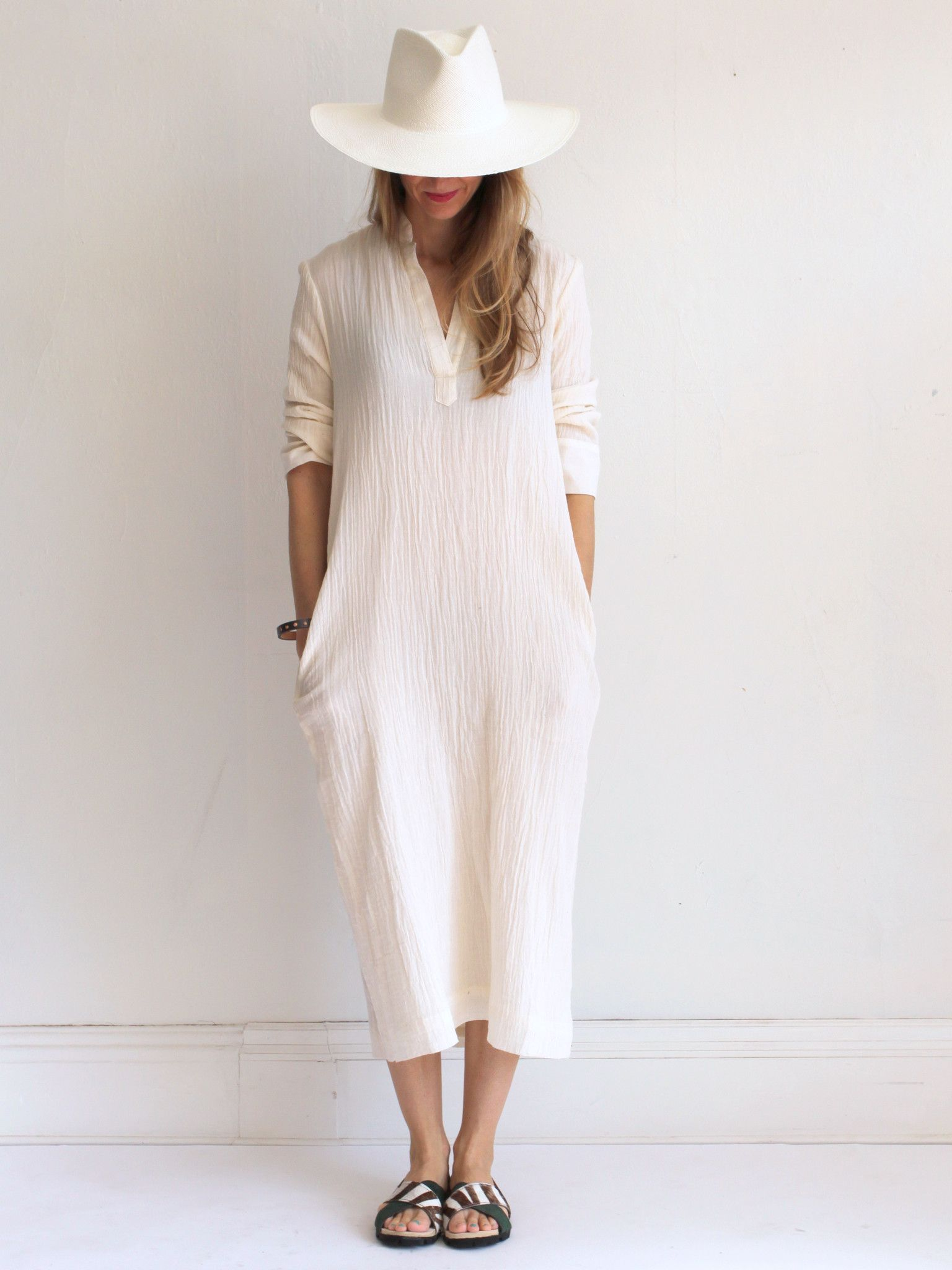 Horses Atelier Long Peasant Dress - Ivory