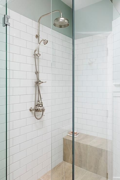 Walk In Shower Features Top Part Of Walls Painted Robin Eggu0027s Blue And The  Rest