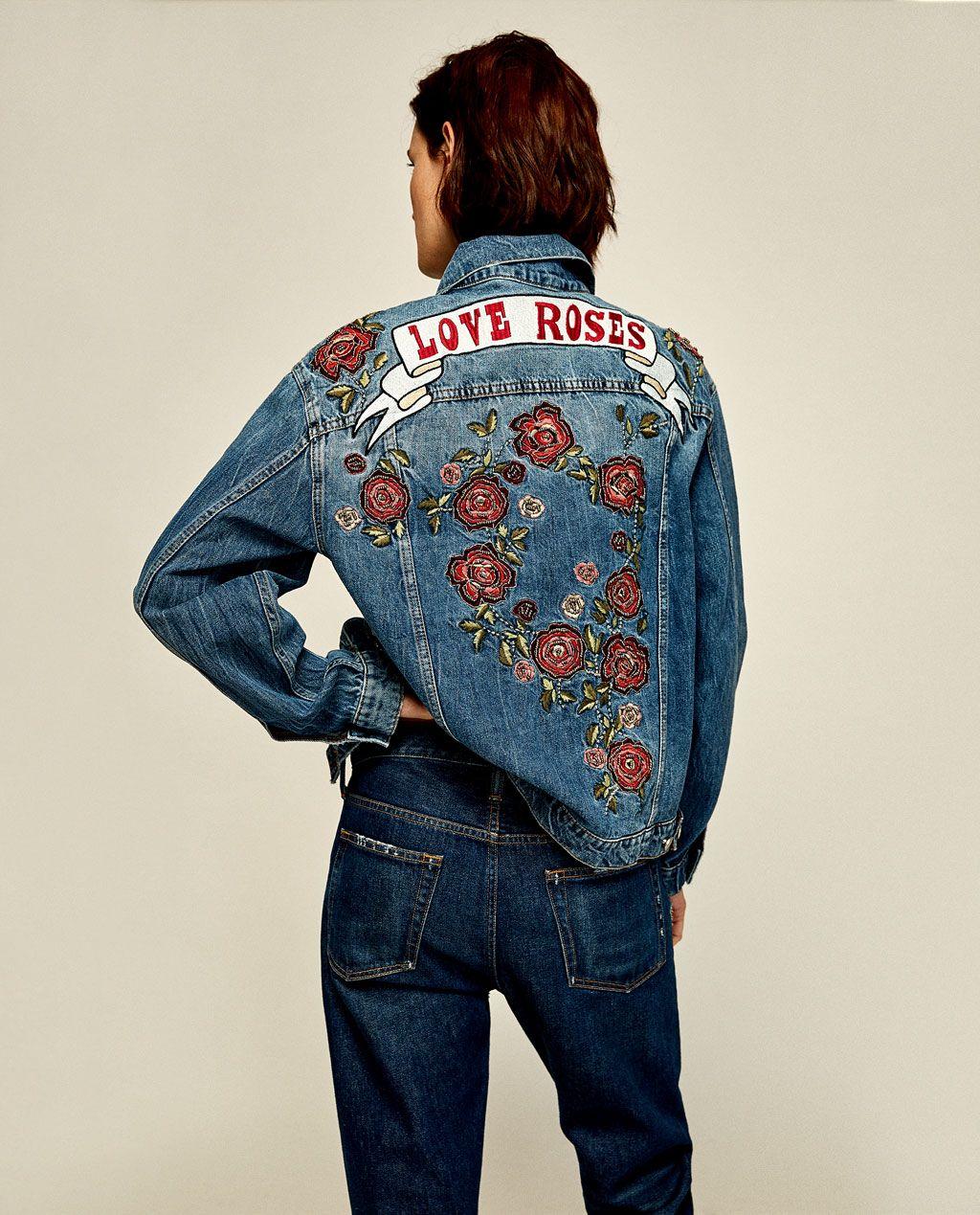 Denim Jacket With Embroidered Roses Jackets Woman Zara United States Denim Ceketler Kadin Zara