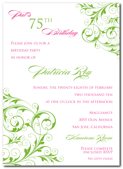 Invitation Card 75Th Birthday purplemoonco
