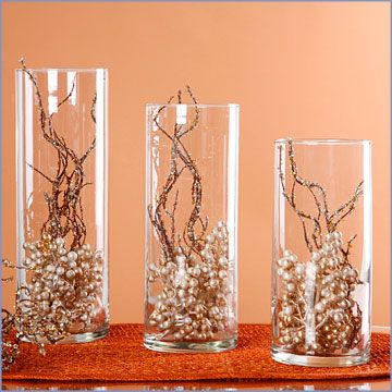 Ideas For Centrepieces With Tall Cylinder Vases Wedding Autumn