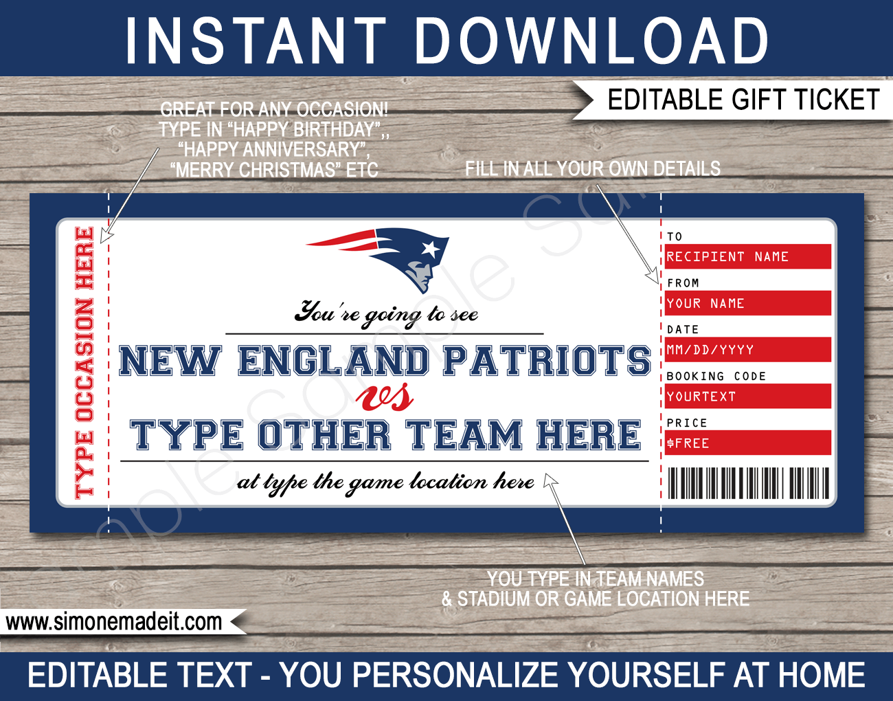 New England Patriots Gift Vouchers In 2020 New England Patriots Game England Patriots New England Patriots