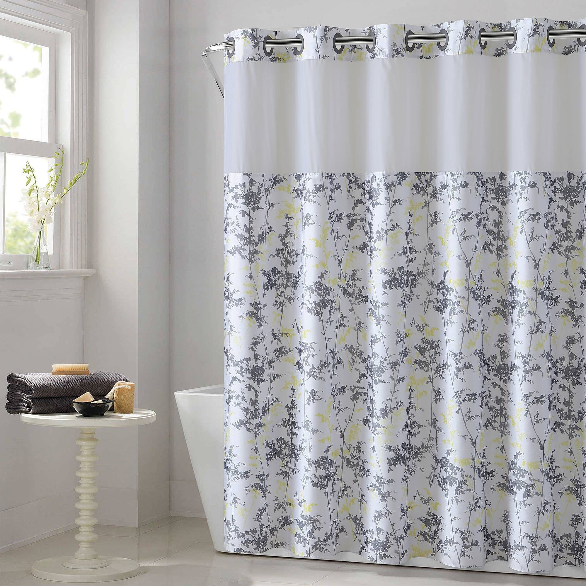 Field Leaves Shower Curtain With Fabric Liner Hookless
