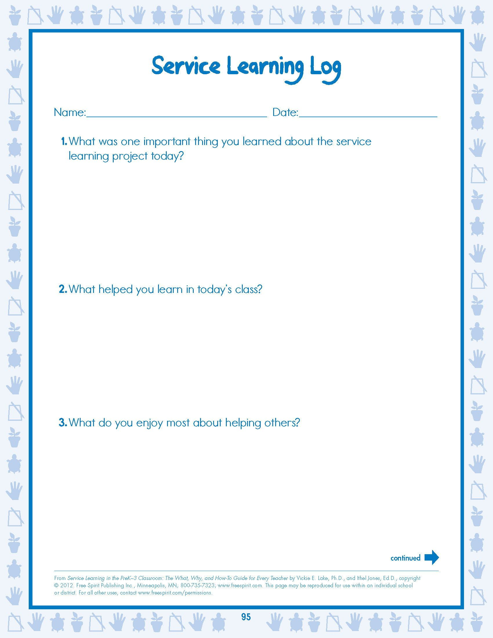 Free worksheet: Service Learning Student Evaluation Log from Service  Learning in the PreK–3 Classroom: …   Service learning [ 2200 x 1700 Pixel ]