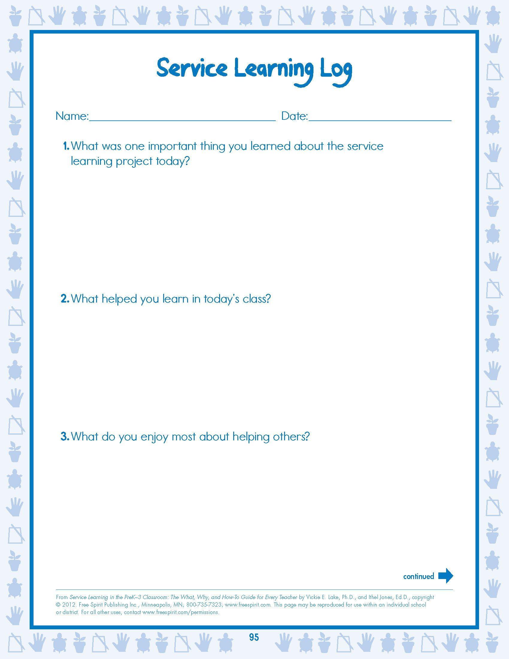 Free Worksheet Service Learning Student Evaluation Log