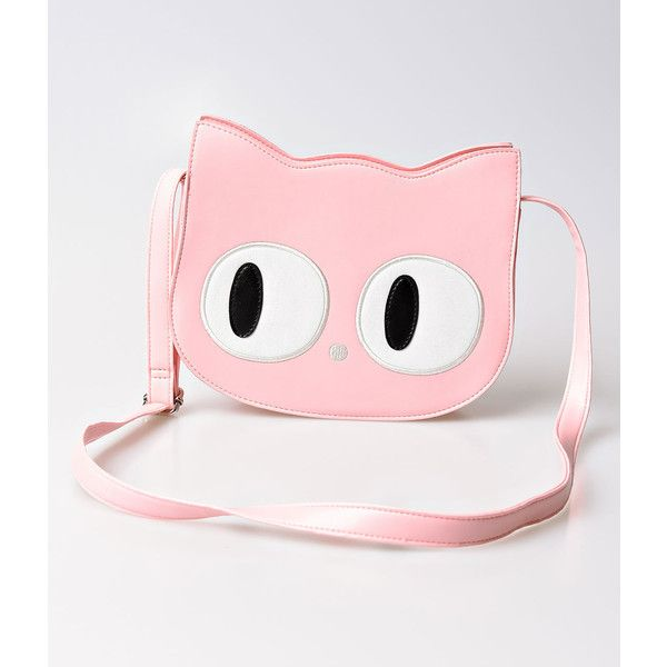 8c562f7d1c33 Banned Light Pink Leatherette Wide Eye Cat Face Shoulder Bag ( 46) ❤ liked  on Polyvore featuring bags