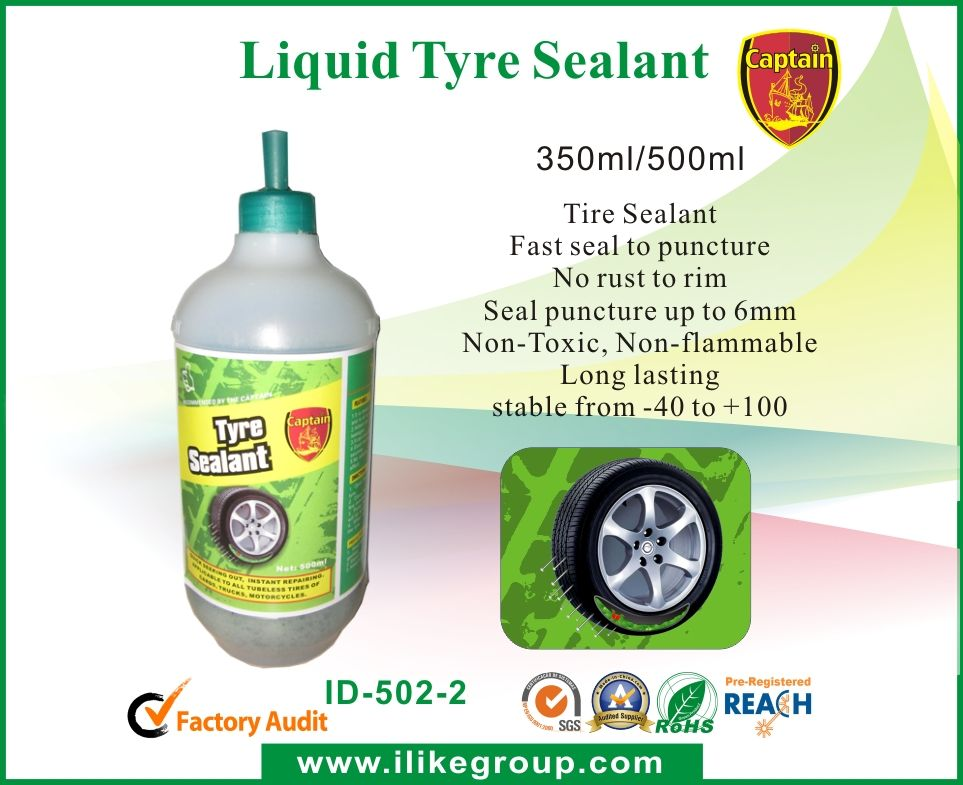 Tire-Sealant-ID-502-tire sealant tire repaire tire sealer tire inflator tire cleaner supplier-iLike Fine Chemical   1.     It is made of organic polymer materials, which is neutral and is of no corrosion to metals or rubber. 2.     Added one time into the tyre and Stops up to 60 leakages. 3.     It can cover the breach within 6mm. 4.     Good leveling to automatically seek-out the leakage in seconds. 5.     No volatile, non-flammable, anti-freezing. Long lasting effect.