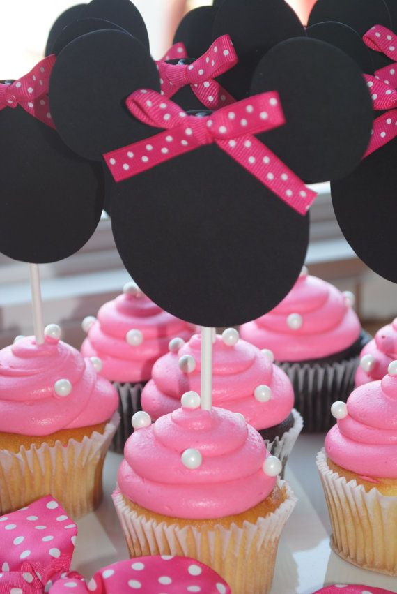 Minnie Mouse Cupcake Toppers On Etsy 12 00 Cake Decorating For