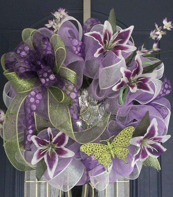 Purple and green mesh wreath