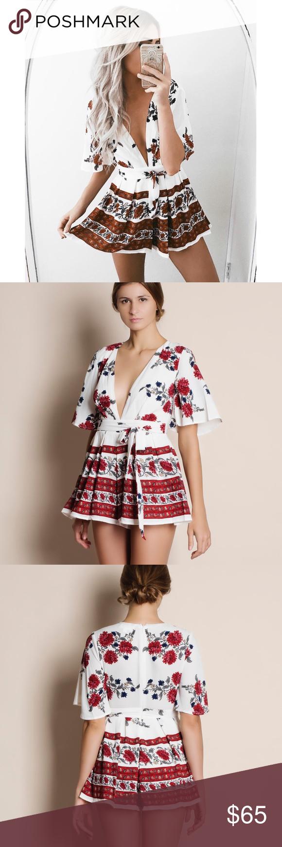 db22e2d7c73 Paradiso White   Red Floral Romper Boutique