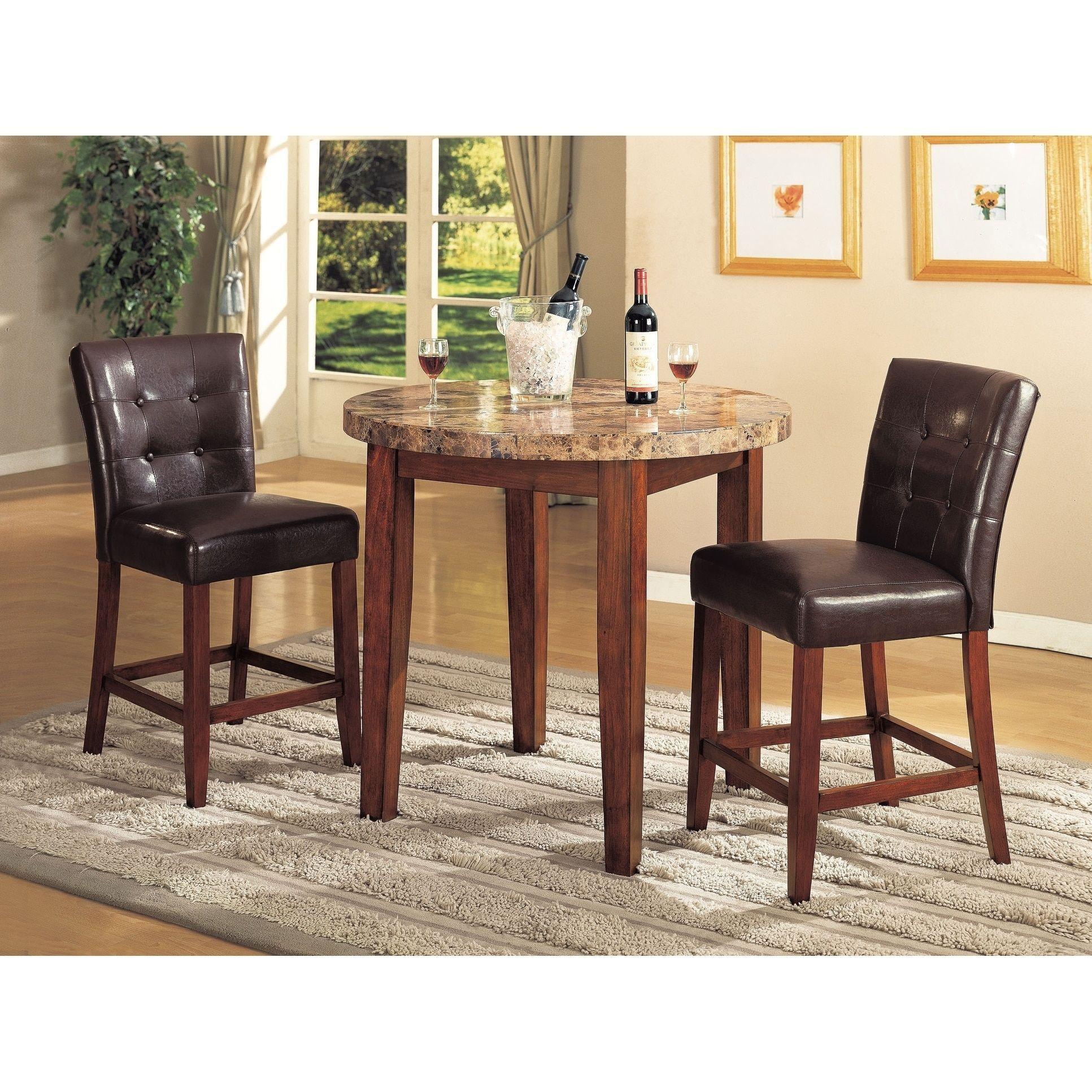 Benzara bologna brown cherry wood counterheight table with brown