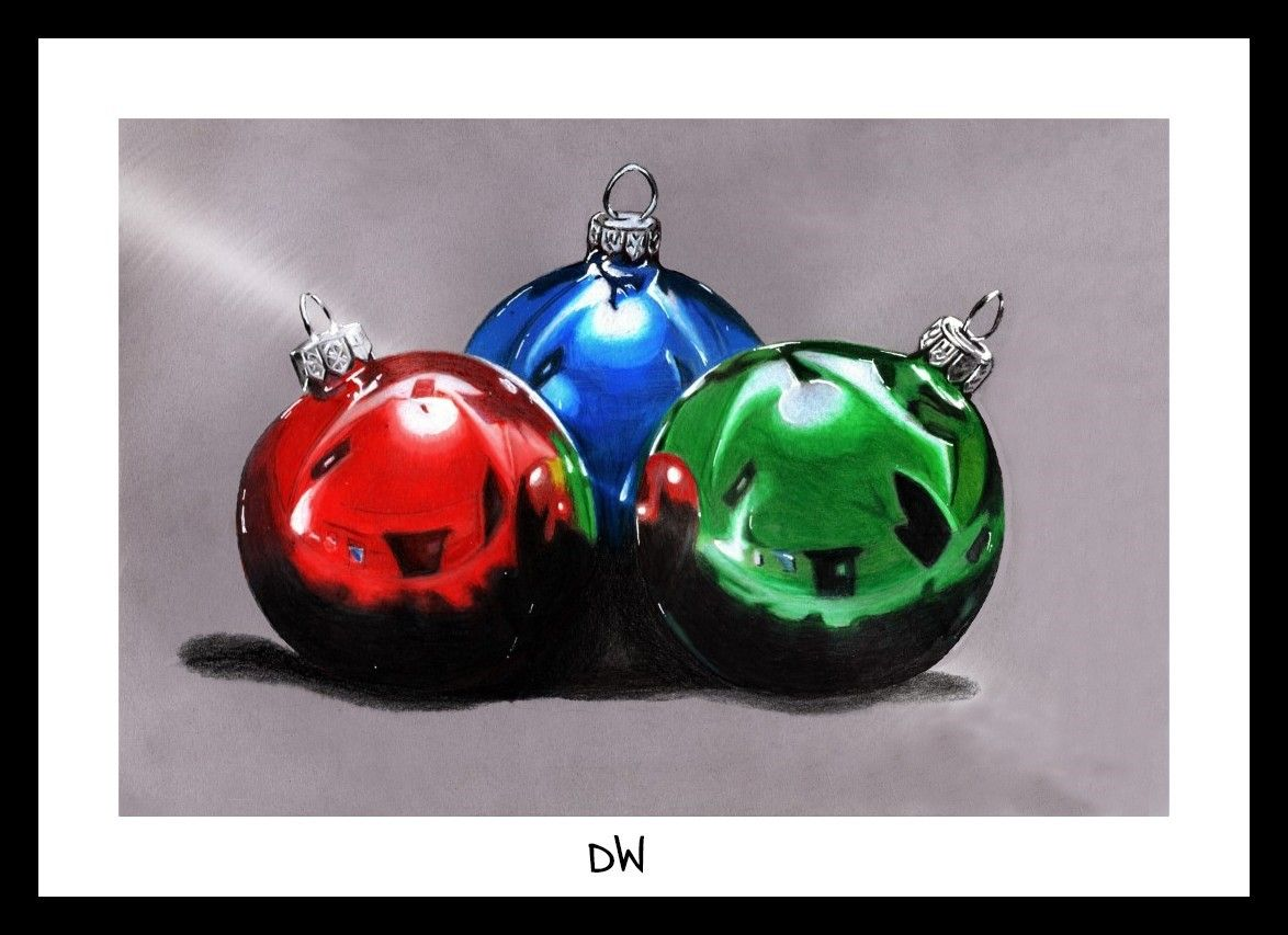 Hyper Realistic Christmas Ornaments Drawing By Dw Lights Ornament