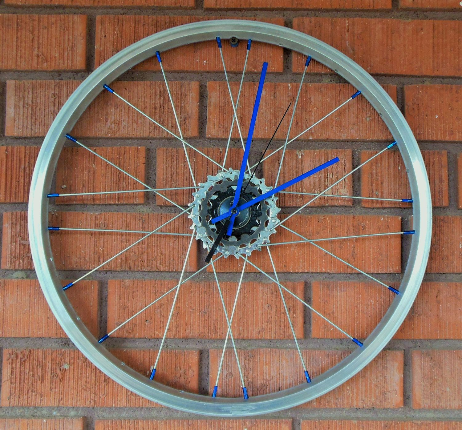 bicycle wheel clock, bike art wall clock, handmade in usa