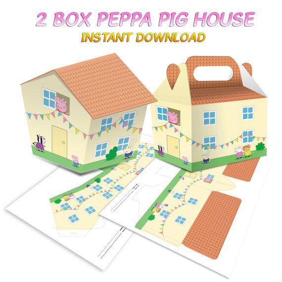 2 Boxes Peppa Pig House Instant Dowload por Migueluche en Etsy