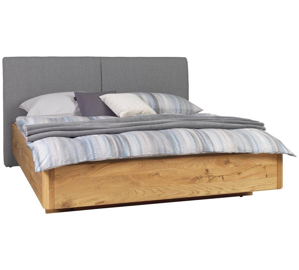 Bett 180 200 Cm In Grau Eichefarben Eichefarben Grau Natur Holz Textil 180 200cm Valnatura Bett Bett 180x200 Schwebendes Bett