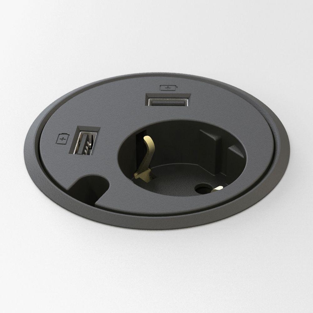 Powerdot El, 2×USB laddare, genomföringshål Kondator AB