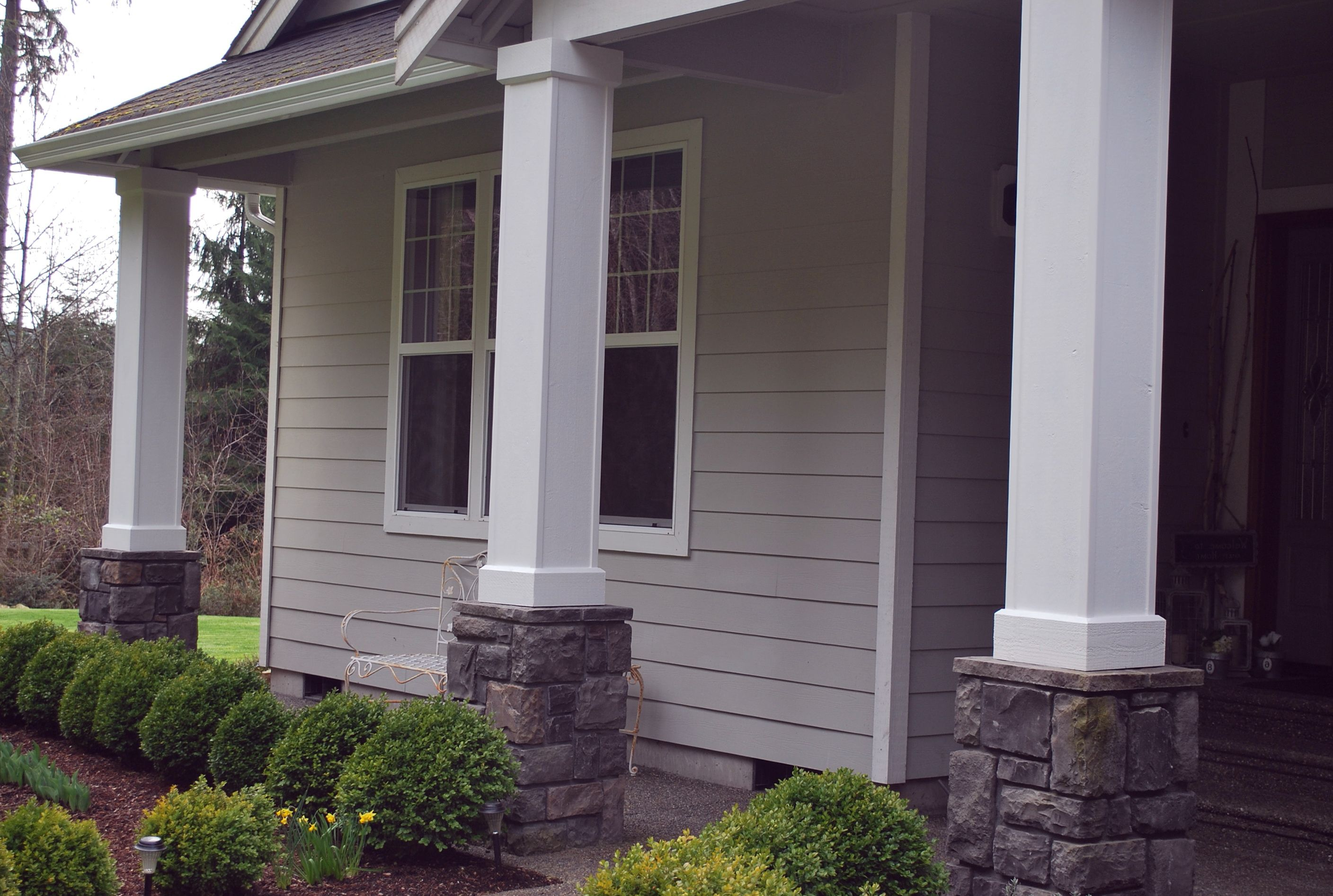 Straight Or Skinny Taper Columns With Low Stone Base Front Porch