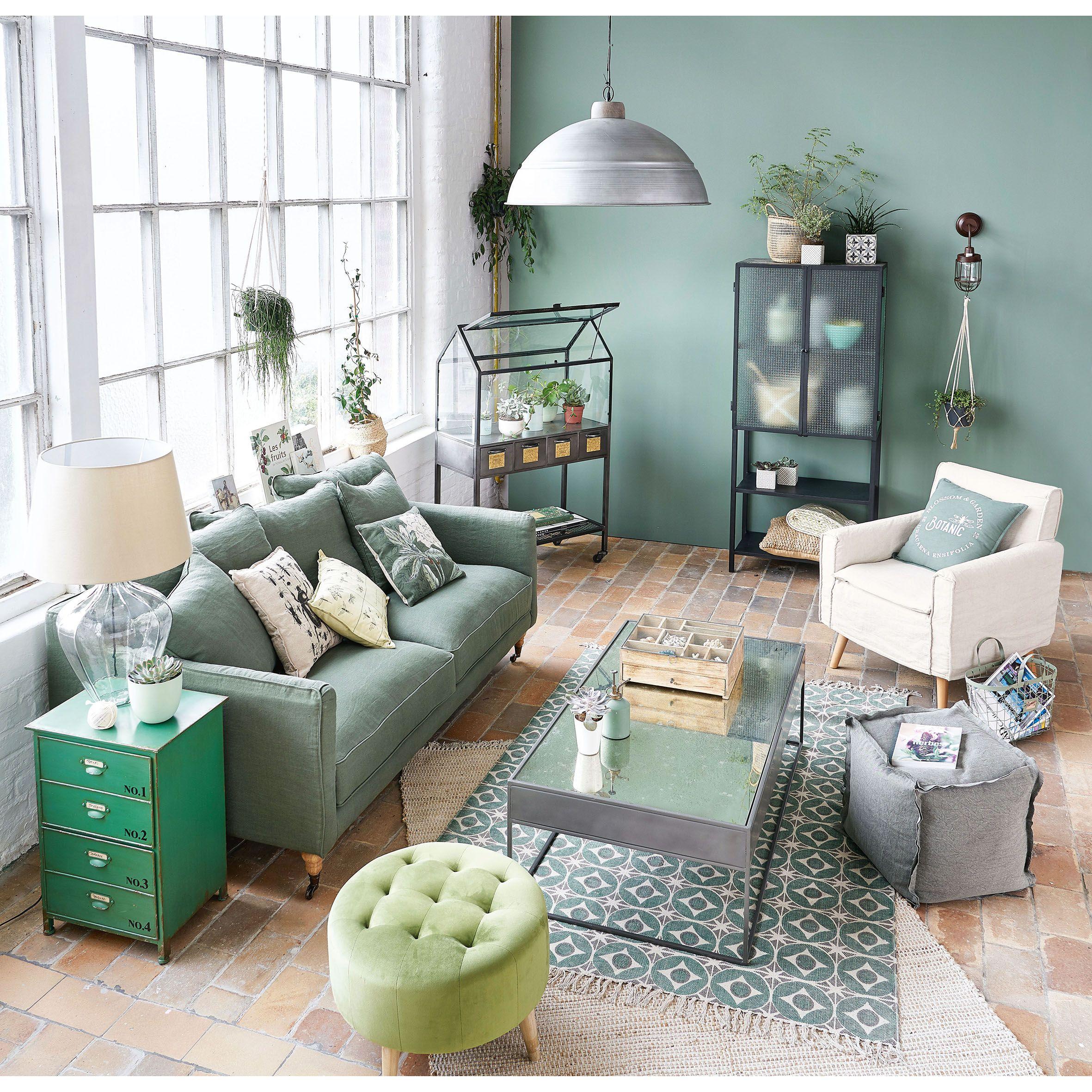 Salon Camaieu De Vert Mur Vert De Gris Mint Pouf Et Serre Vegetal