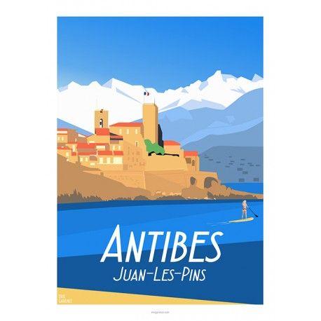 Affiche 50x70 Par Eric Garence Antibes Cote D Azur Affiches De Voyage Retro Affiches De Voyage Antibes